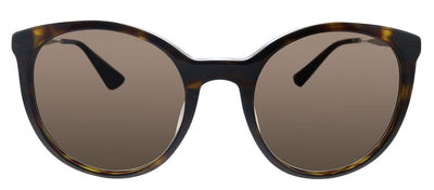 Prada PR 17SSF 2AU3D0 Oval Plastic Havana Sunglasses with Brown Gradient Lens