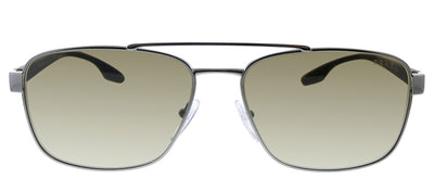 Prada Linea Rossa PS 51US 5AV1X1 Pillow Metal Silver Sunglasses with Brown Gradient Lens