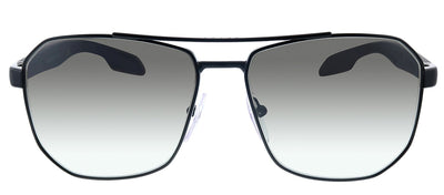 Prada Linea Rossa PS 51VS 1BO5O0 Pillow Metal Black Sunglasses with Silver Mirror Lens