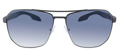 Prada Linea Rossa PS 51VS DG11J0 Pillow Metal Gunmetal Sunglasses with Blue Mirror Lens