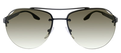 Prada Linea Rossa PS 52VS 7CQ1X1 Pilot Metal Gunmetal Sunglasses with Brown Gradient Lens