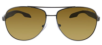 Prada Linea Rossa PS 53PS 5AV5Y1 Pilot Metal Gunmetal Sunglasses with Brown Polarized Lens