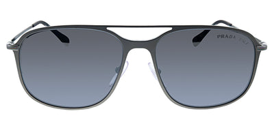 Prada Linea Rossa PS 53TS 7CQ2F2 Rectangle Metal Brown Sunglasses with SIlver Polarized Lens