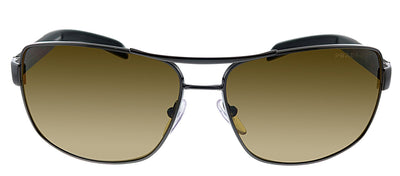 Prada Linea Rossa PS 54IS 5AV5Y1 Rectangle Metal Gunmetal Sunglasses with Brown Polarized Lens
