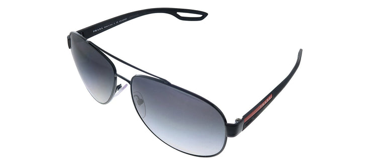 Prada Linea Rossa PS 55QS 1AB5W1 Pilot Metal Black Sunglasses with Grey Polarized Lens