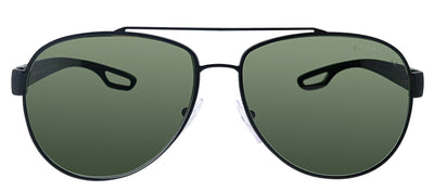 Prada Linea Rossa PS 55QS DG05X1 Pilot Metal Black Sunglasses with Green Polarized Lens