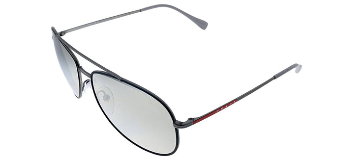 Prada Linea Rossa PS 55US 6BJ2B0 Pilot Metal Black Sunglasses with Grey Mirror Lens