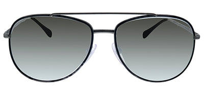 Prada Linea Rossa PS 55US 6BJ2B0 Pilot Metal Black Sunglasses with Silver Mirror Lens