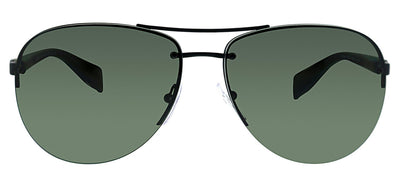 Prada Linea Rossa PS 56MS DG05X1 Pilot Metal Black Sunglasses with Green Polarized Lens