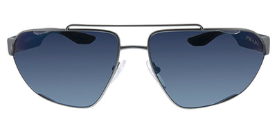 Prada Linea Rossa PS 56US DG1387 Pilot Metal Gunmetal Sunglasses with Blue Gradient Lens