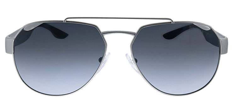 Prada Linea Rossa PS 57US 4495W1 Pilot Metal Grey Sunglasses with Grey Polarized Lens