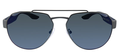 Prada Linea Rossa PS 57US DG1387 Pilot Metal Gunmetal Sunglasses with Blue Gradient Lens