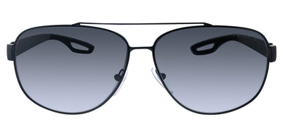 Prada Linea Rossa PS 58QS 1AB5W1 Rectangle Metal Black Sunglasses with Grey Polarized Lens