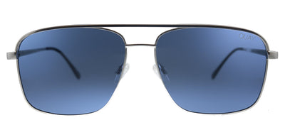 Quay Australia QM PosterBoy MATTESLV/NAVY Rectangle Metal Silver Sunglasses with Blue Polarized Lens