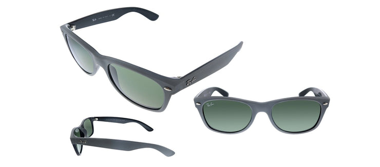 Ray-Ban New Wayfarer RB 2132 646431 Square Plastic Grey Sunglasses with Green Lens