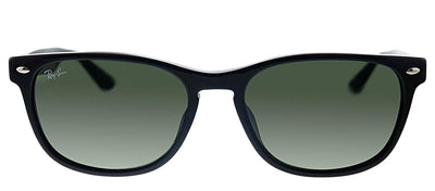Ray-Ban RB 2184F 901/31 Square Plastic Black Sunglasses with Green Lens