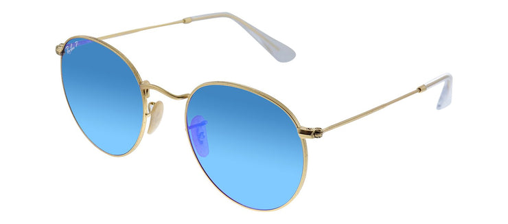 Ray-Ban RB 3447 112/4L Round Metal Gold Sunglasses with Blue Mirror Polarized Lens