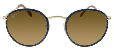 Ray-Ban Round Craft RB 3475Q 919233 Oval Metal Blue Sunglasses with Brown Lens