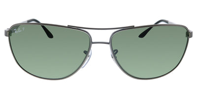Ray-Ban RB 3506 029/9A Pilot Metal Gunmetal Sunglasses with Green Polarized Lens