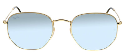 Ray-Ban RB 3548N 001/30 Geometric Metal Gold Sunglasses with Grey Flash Lens