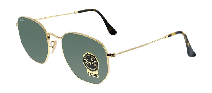 Ray-Ban RB 3548N 001 Geometric Metal Gold Sunglasses with Green Lens