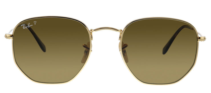 Ray-Ban RB 3548N 001/57 Geometric Metal Gold Sunglasses with Brown Polarized Lens