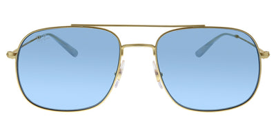 Ray-Ban RB 3595 901380 Pilot Metal Gold Sunglasses with Blue Lens