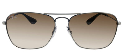 Ray-Ban RB 3610 913913 Rectangle Metal Black Sunglasses with Brown Gradient Lens