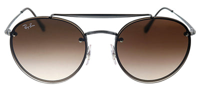Ray-Ban RB 3614N 914413 Oval Metal Gunmetal Sunglasses with Brown Gradient Lens