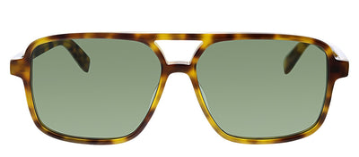 Saint Laurent SL 176 003 Square Plastic Tortoise Sunglasses with Green Lens