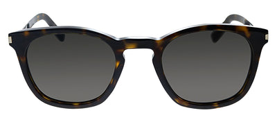 Saint Laurent SL 28 004 Square Plastic Havana Sunglasses with Grey Lens