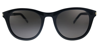 Saint Laurent SL 401 005 Round Plastic Black Sunglasses with Black Lens