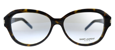 Saint Laurent SL 411 002 Oval Plastic Havana Eyeglasses with Demo Lens