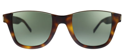 Saint Laurent SL 51 CUT 002 Square Plastic Havana Sunglasses with Green Lens