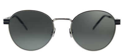 Saint Laurent SL M62 001 Round Metal Silver Black Sunglasses with Grey Lens