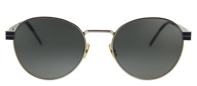 Saint Laurent SL M62 003 Round Metal Gold Black Sunglasses with Grey Lens