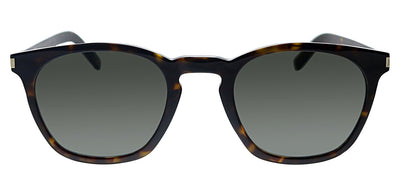 Saint Laurent SL SLIM28 003 Geometric Plastic Havana Sunglasses with Grey Lens