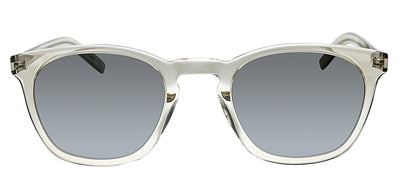 Saint Laurent SL SLIM28 006 Geometric Plastic Clear Sunglasses with Silver Polarized Lens