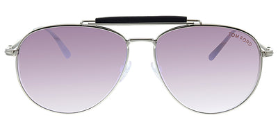 Tom Ford TF 536 16Z Pilot Metal Silver Sunglasses with Pink Mirror Lens