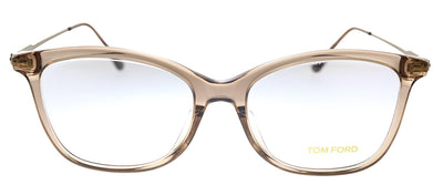 Tom Ford TF 5510F 045 Geometric Plastic Brown Eyeglasses with Demo Lens
