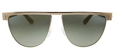 Tom Ford TF 570 28C Aviator Metal Gold Sunglasses with Grey Mirror Lens