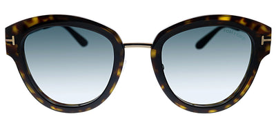 Tom Ford TF 574 52P Butterfly Metal Havana Sunglasses with Green Gradient Lens