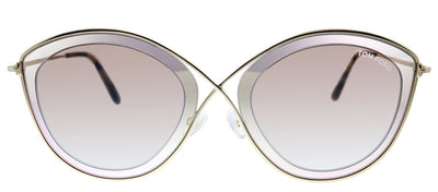 Tom Ford TF 604 47G Sascha Oval Metal Pink Sunglasses with Brown Gradient Lens