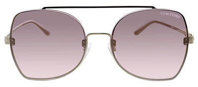 Tom Ford TF 656 28Z Pilot Metal Gold Sunglasses with Pink Lens