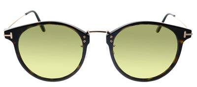 Tom Ford TF 673 52N Oval Plastic Havana Sunglasses with Green Mirror Lens