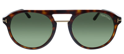 Tom Ford TF 675F 54N Pilot Plastic Havana Sunglasses with Green Lens