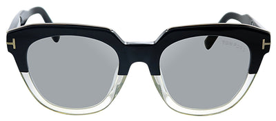 Tom Ford TF 686F 03C Pilot Plastic Black And Clear Sunglasses with Silver Mirror Lens