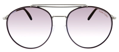 Tom Ford TF 694 16T Round Metal Silver Sunglasses with Purple Gradient Lens