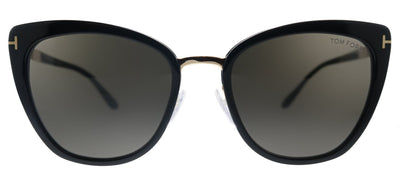 Tom Ford Simona TF 717 01A Cat-Eye Plastic Shiny Black Sunglasses with Grey Lens