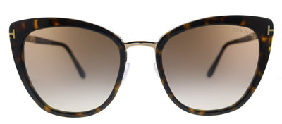 Tom Ford Simona TF 717 52F Cat-Eye Plastic Shiny Dark Havana Sunglasses with Brown Gradient Lens